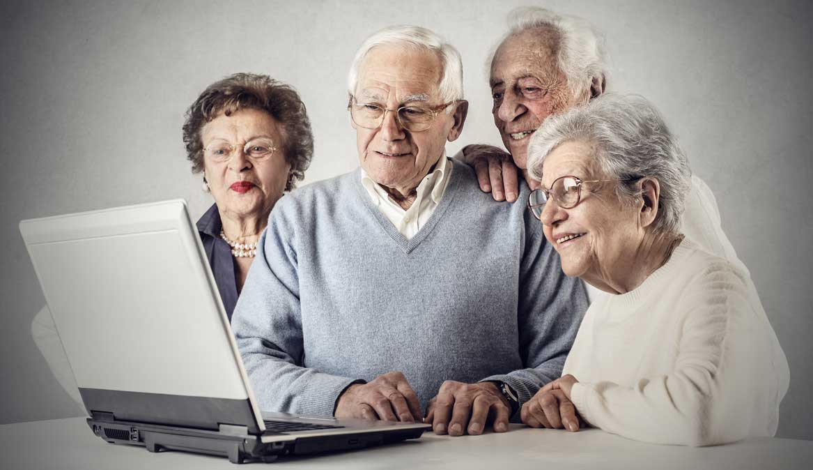 247 nursing & medical services, private and homecare services, happy group of seniors making enquiries on 247 nursing 7 medical services website